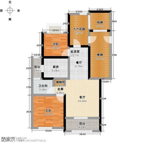 月亮湾3号2室0厅1卫1厨88.00㎡户型图