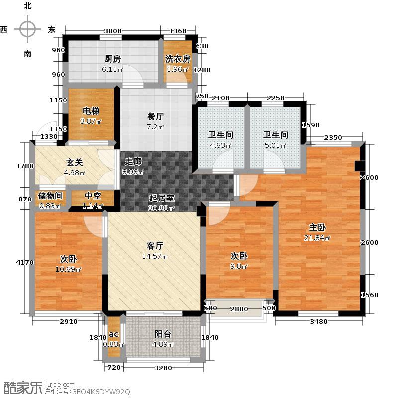 山湖湾124.00㎡B2户型3室2厅2卫
