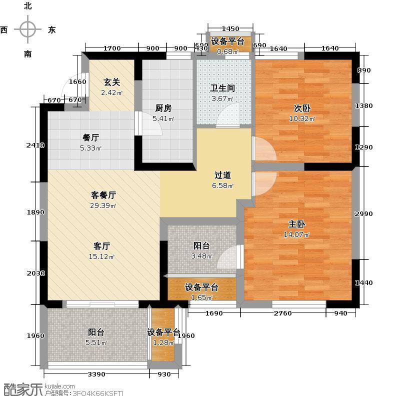 蓝山湾二期荣域87.18㎡B户型-2室2厅1卫1厨户型