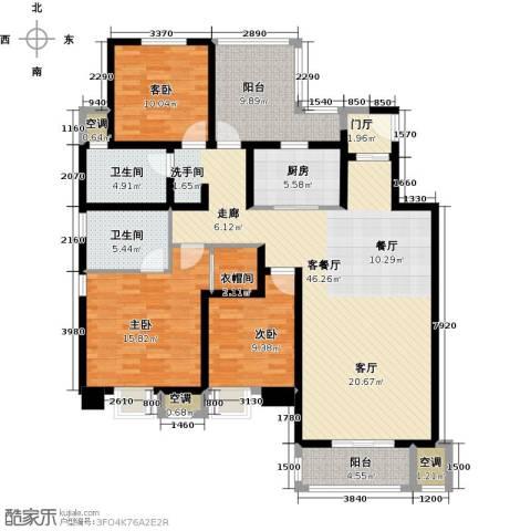中锐星尚城3室1厅2卫1厨133.00㎡户型图