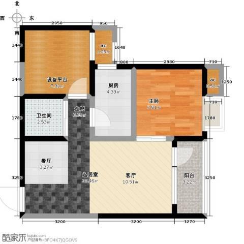 阳光100国际新城1室0厅1卫1厨59.00㎡户型图