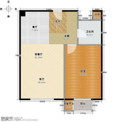 滨海先锋SOHO1厅1卫0厨78.00㎡户型图
