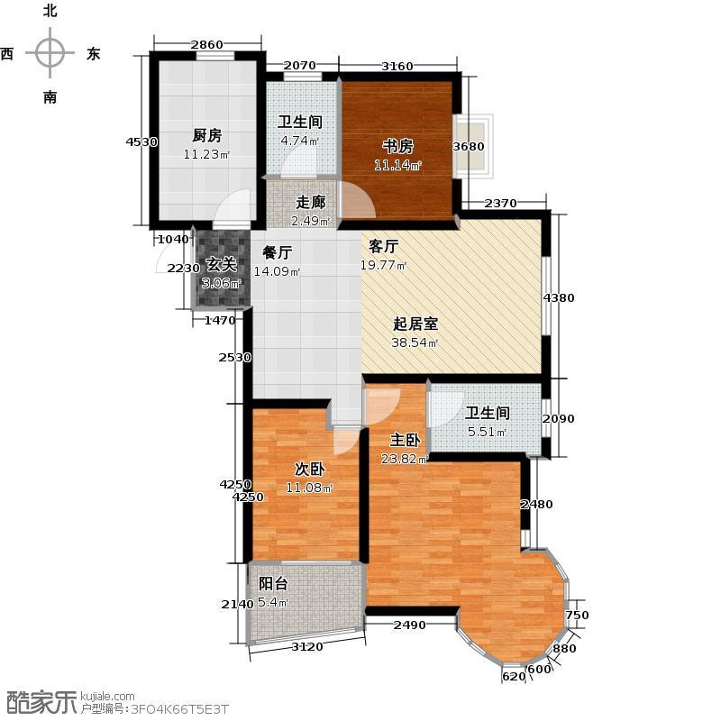 映月公馆124.59㎡D户型3室2厅2卫