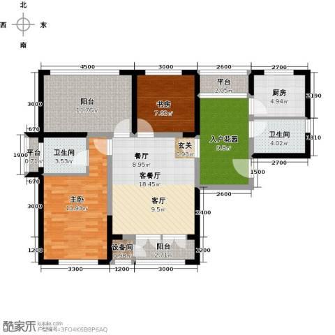 津沽首府2室1厅2卫1厨93.00㎡户型图