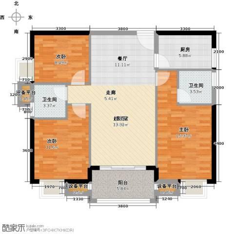 富雅国际3室0厅2卫1厨119.00㎡户型图