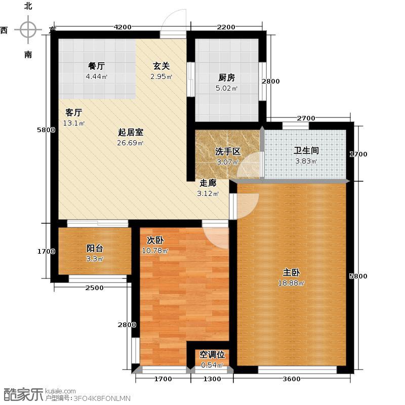松江运河城户型2室1卫1厨