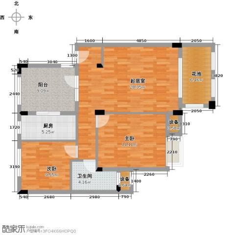 万科红郡2室0厅1卫1厨86.00㎡户型图