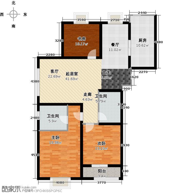 映月公馆125.39㎡C户型 3室2厅2卫1厨户型