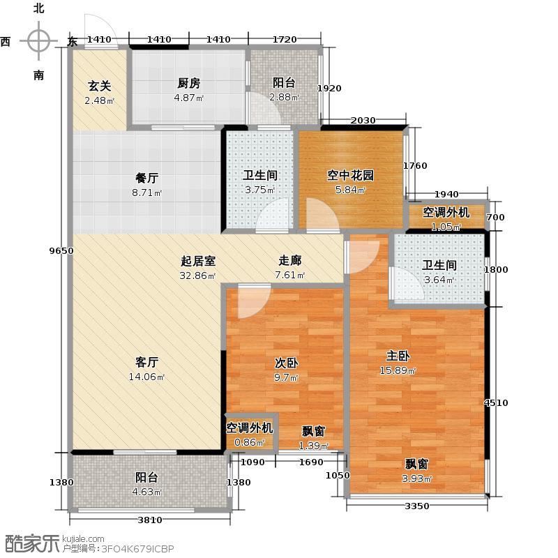 江宇世纪城2#楼-91平2+1房户型
