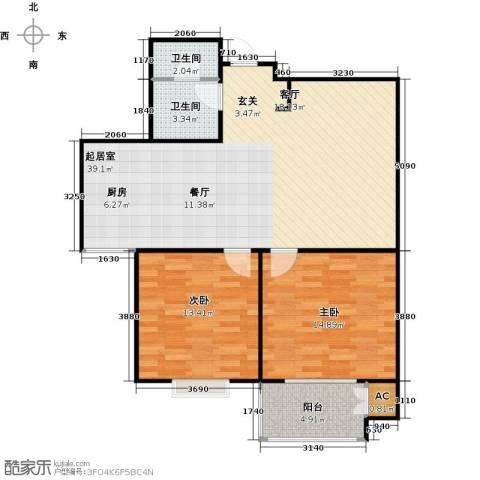 锦绣华城2室0厅2卫0厨85.00㎡户型图
