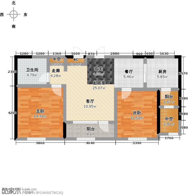 钻石湾91.00㎡二室二厅一卫户型2室2厅1卫