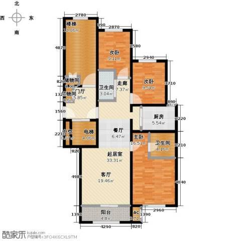 中海�庭3室0厅2卫1厨129.38㎡户型图