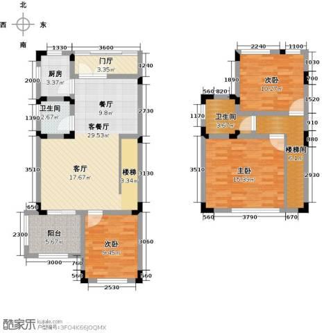 汇祥云深处3室1厅2卫1厨89.47㎡户型图