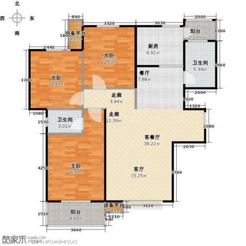 北郡帕提欧3室1厅2卫1厨136.00㎡户型图