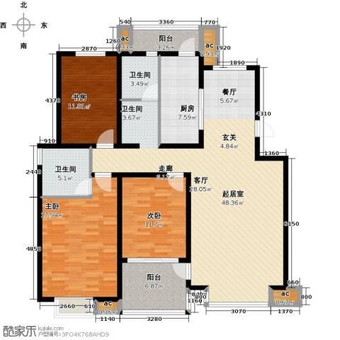 凤凰花园3室0厅2卫1厨136.00㎡户型图