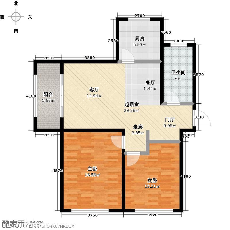 鑫江水青花园85.00㎡A-1户型2室2厅1卫