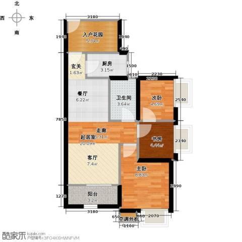 富川瑞园3室0厅1卫1厨89.00㎡户型图