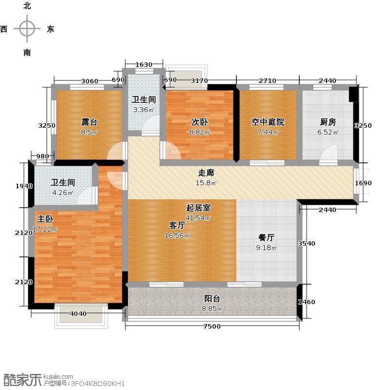新地东方明珠117.00㎡1#两房户型2室2厅2卫户型2室2厅2卫