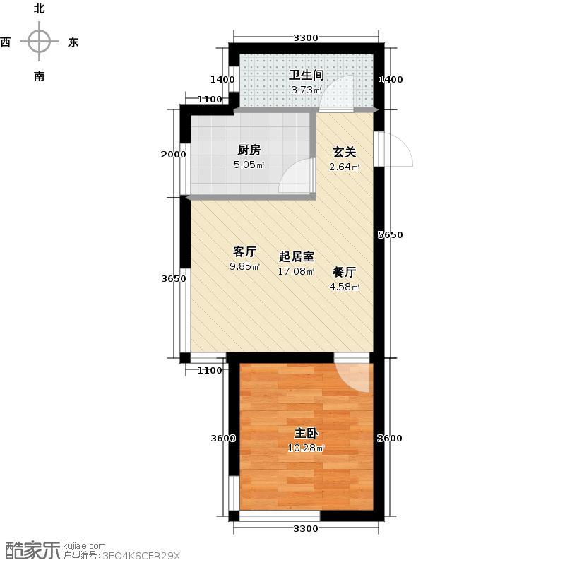 阳光尚城57.71㎡B3户型一室二厅一卫户型1室2厅1卫QQ