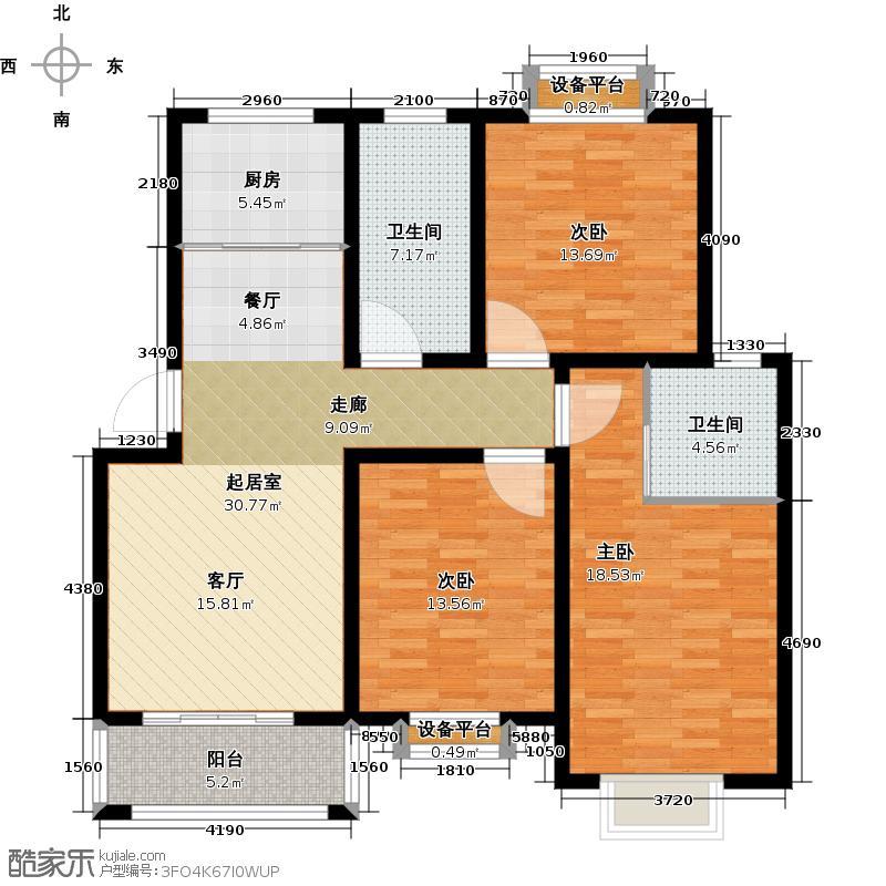 北苑馨居115.35㎡B户型3室2厅2卫