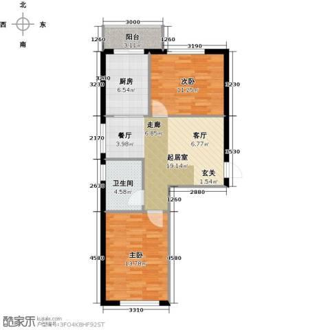 万锦民悦2室0厅1卫1厨65.00㎡户型图