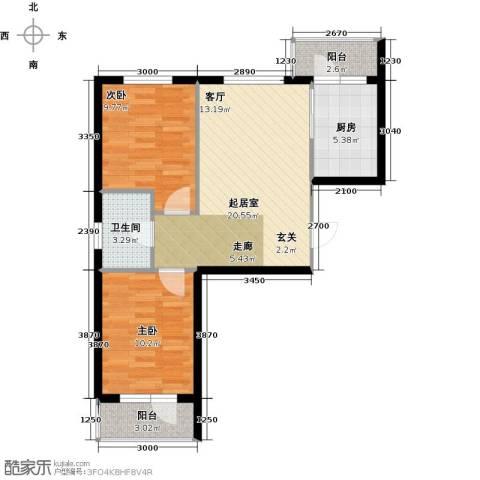 万锦民悦2室0厅1卫1厨76.00㎡户型图