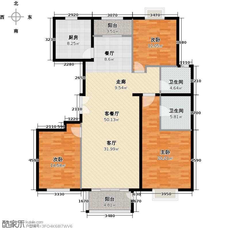 住总尚清湾136.12㎡三室两厅户型