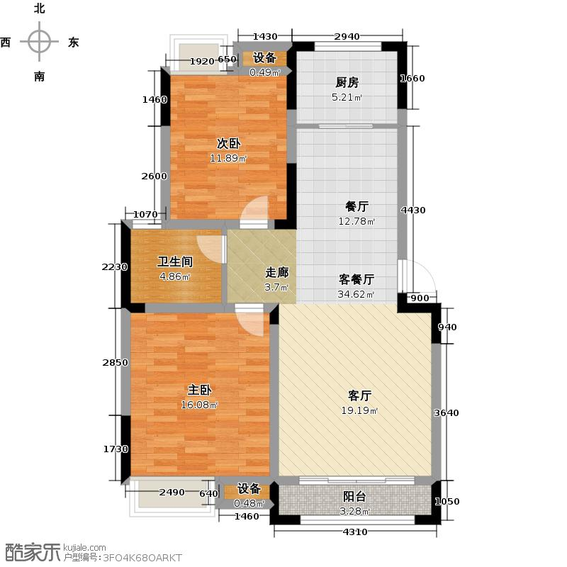 坤元里岸88.00㎡坤元里岸88.00㎡2室2厅1卫户型2室2厅1卫