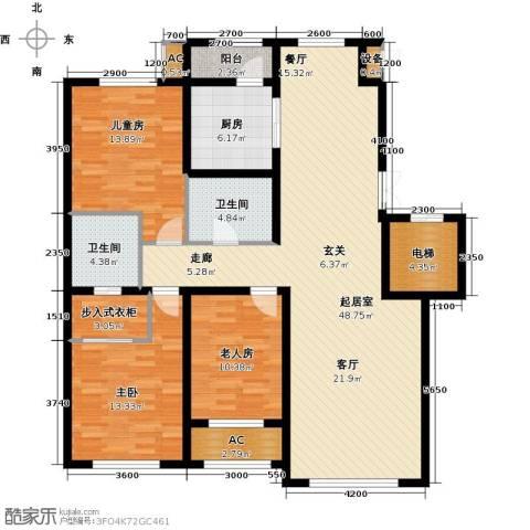 伟峰东樾3室0厅2卫1厨142.00㎡户型图