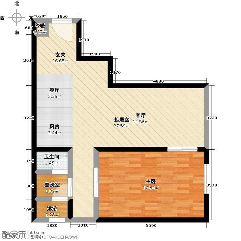 晋合公寓69.00㎡E户型一室一厅一卫69平米户型1室1厅1卫