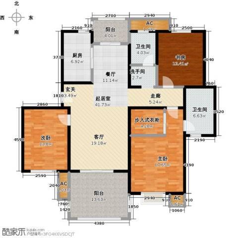 东湖京华3室0厅2卫1厨128.67㎡户型图