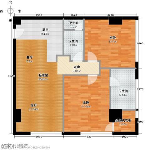旷世国际2室0厅3卫0厨160.00㎡户型图