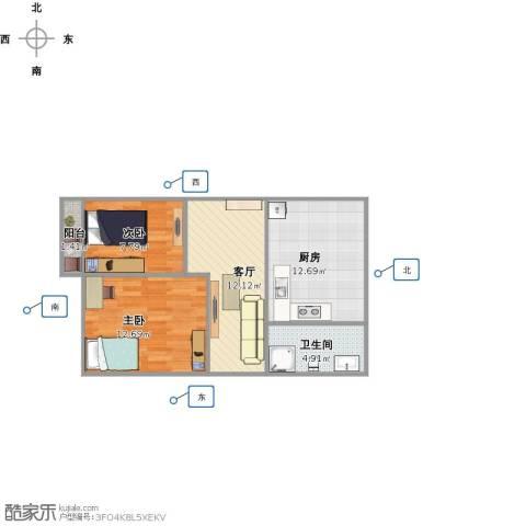 洪苑小区2室1厅1卫1厨70.00㎡户型图