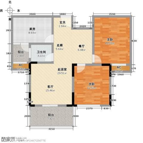 国际时代广场2室0厅1卫1厨114.00㎡户型图