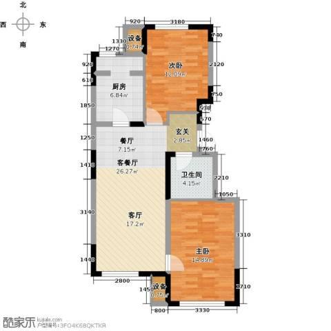 东丽湖万科城鹭湖2室1厅1卫1厨90.00㎡户型图