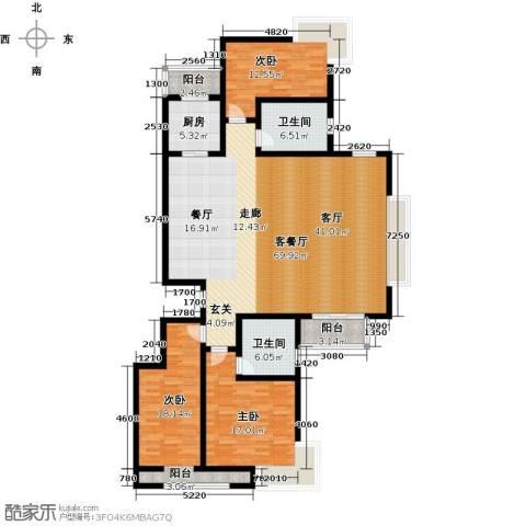 领世公馆3室1厅2卫1厨159.00㎡户型图