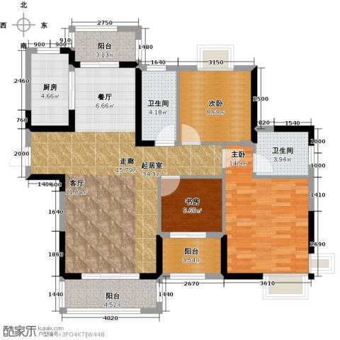 绿地中央广场3室0厅2卫1厨123.00㎡户型图