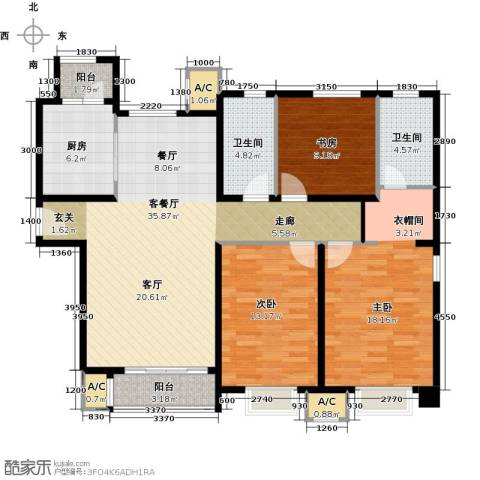 中建滨海壹号3室1厅2卫1厨137.00㎡户型图
