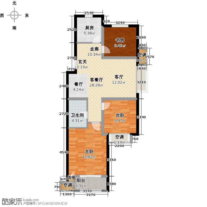 海尔时代广场90.00㎡海尔时代广场90.00㎡3室2厅户型3室2厅