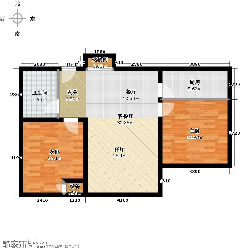 中国窗C3A户型 两室两厅一卫 95.17平米户型
