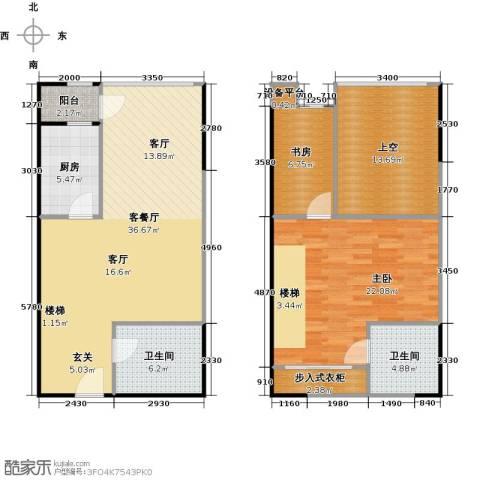 地铁新都汇2室1厅2卫1厨110.00㎡户型图