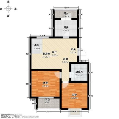 港东未来城2室0厅1卫1厨88.00㎡户型图