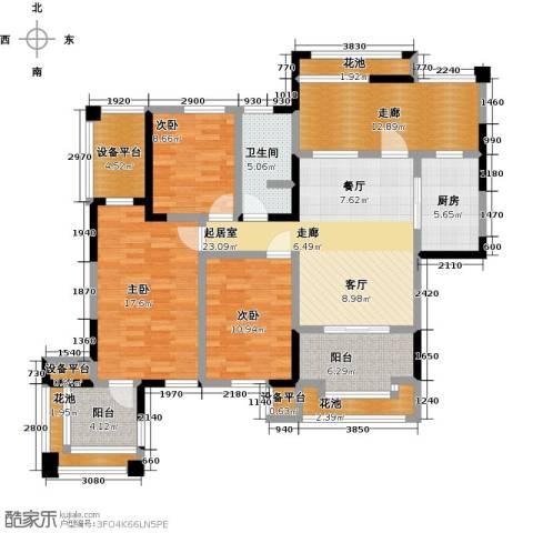 中冶南方韵湖首府3室0厅1卫1厨118.00㎡户型图