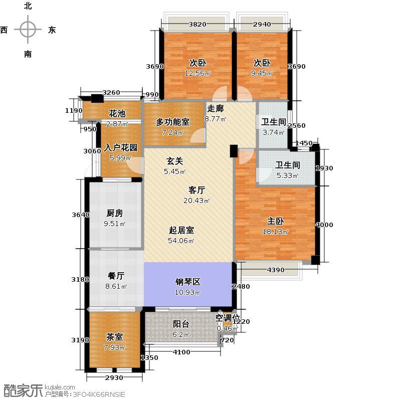 大华南湖公园世家159.70㎡5C-10 五房两厅两卫户型5室2厅2卫