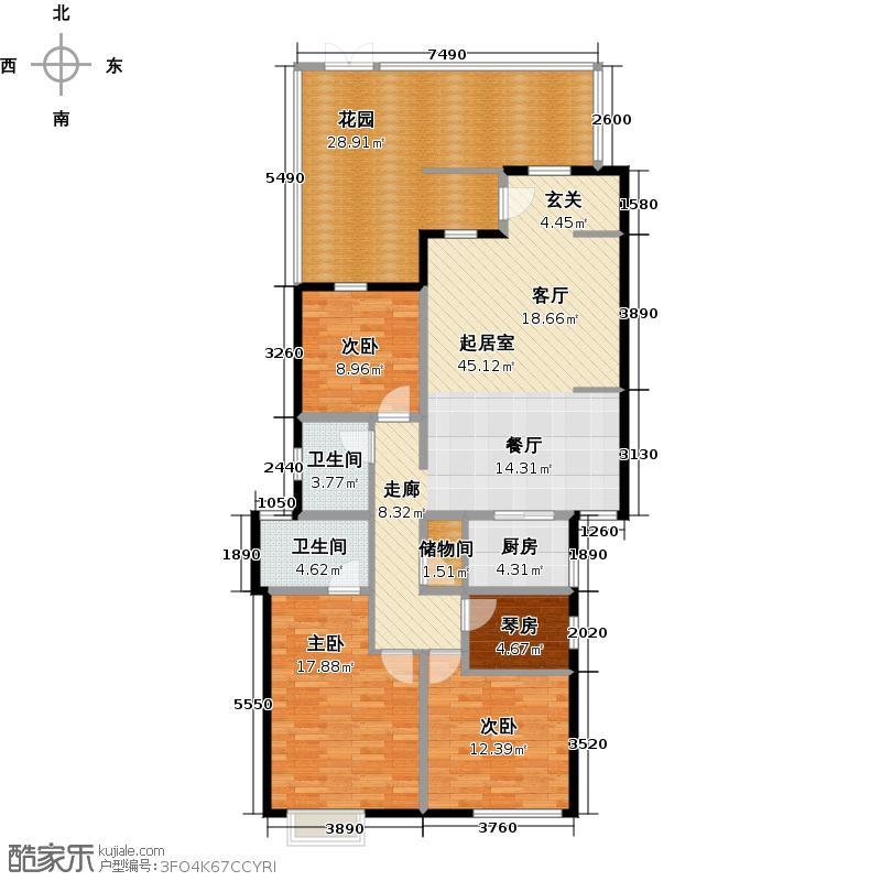 和达和城147.00㎡B洋房三室二厅户型