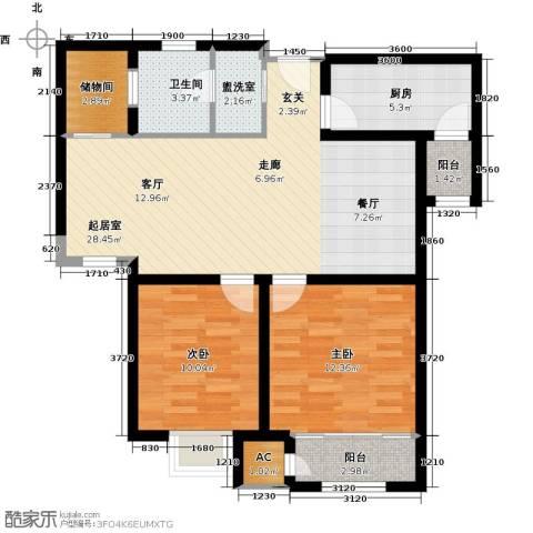 钱隆学府2室0厅1卫1厨82.00㎡户型图
