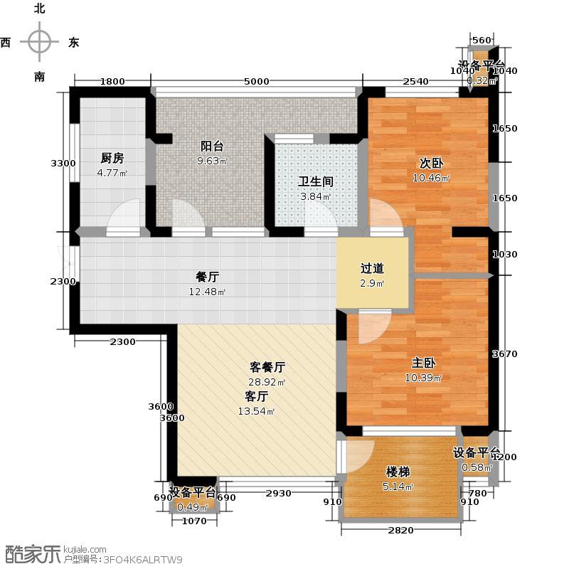 永泰枕流GOLF公寓94.90㎡DY 2室2厅1卫户型