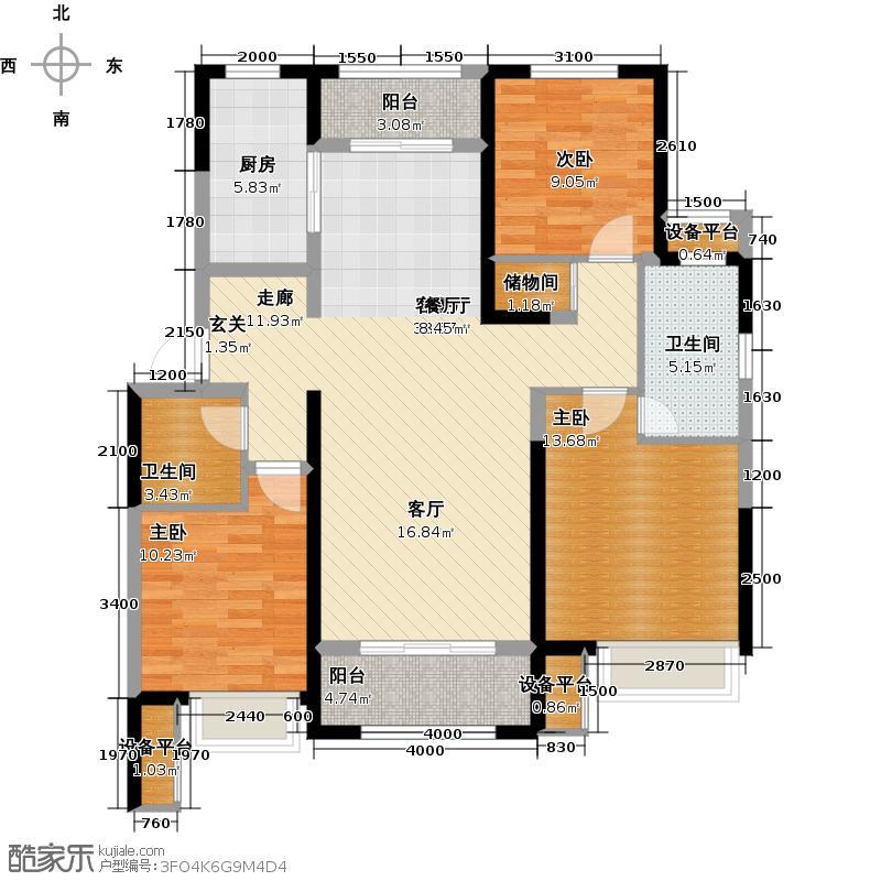 保利花园137.00㎡E区C3户型 三室两厅两卫户型3室2厅2卫