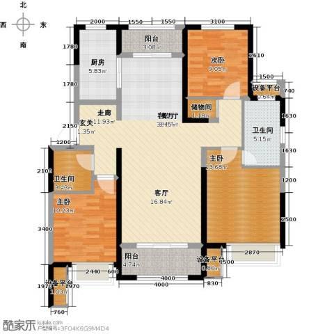 保利花园3室1厅2卫1厨137.00㎡户型图