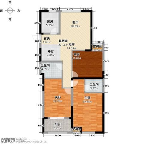 香榭里3室0厅2卫1厨133.00㎡户型图